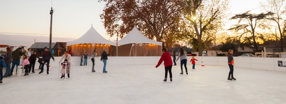 Adventurous skaters brave the cold to enjoy Turlock's Fields of Ice as the sun sets on December 3, 2013. Just off Canal Rd in Turlock between November 29 and January 12, the rink at R.A.M. farms offered area residents an 80x60 foot ice field to skaters of every skill level.