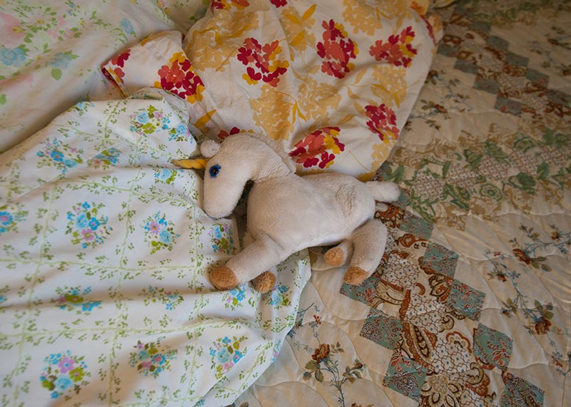 quilt and stuffed animal